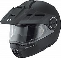 Held by Schuberth H-E1 Adventure, flip up helmet