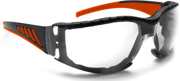 Bertoni AF149HD2, Windschutzbrille - Schwarz/Orange Klar - One Size