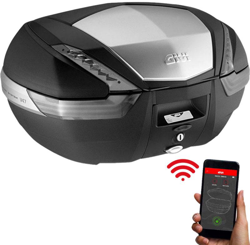 Givi V47 Tech Keyless 2.0, Topcase Monokey - Schwarz/Silber - 47L V47NTKL