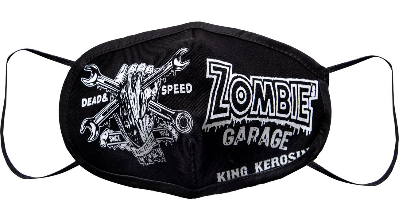 King Kerosin Zombie Garage, Gesichtsmaske - Schwarz/Weiß - Einheitsgröße KK260025-200-ONE SIZE
