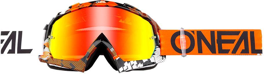ONeal B-10 S18 Pixel, Crossbrille - Orange/Weiß Rot-Verspiegelt 6024-312O