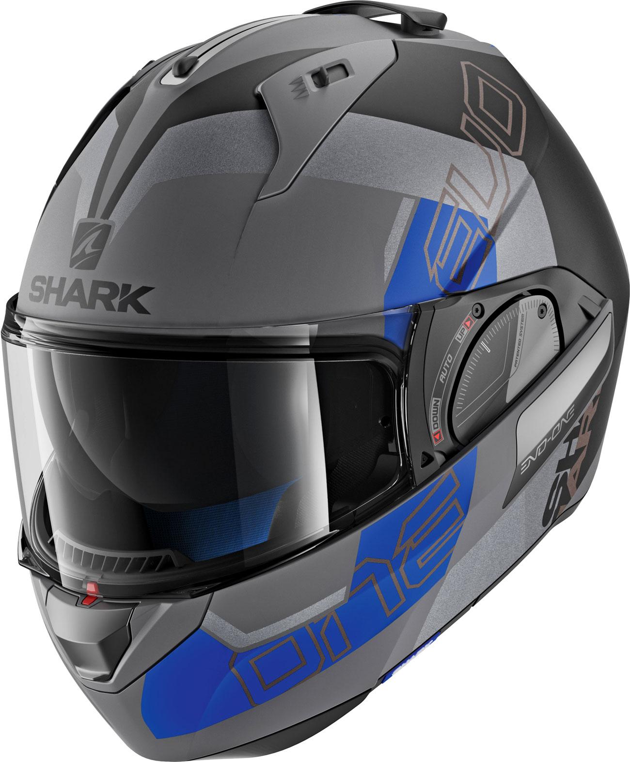 Shark Evo-One 2 Slasher, Modularhelm - Matt Grau/Schwarz/Blau - XS HE9715EAKBXS