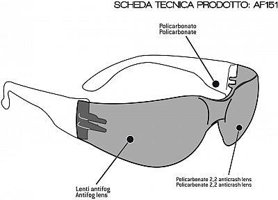 Bertoni AF151, Sonnenbrille Antifog Schwarz Getönt , Größe Einheitsgröße