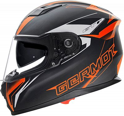 Germot Gm 330 NERO OPACO FLUO Casco Moto parasole grande campo visivo ECE